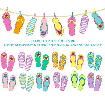 summer flip flop clip art with flipflops on clothesline// 36 .png files