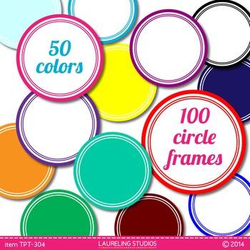 digital clip art frames - 100 round .png frames in 50 colors TPT104