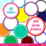 digital clip art frames - 100 round .png frames in 50 colors TPT104