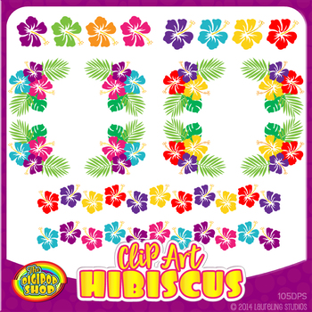 clip art hibiscus - colorful Hawaiian flower clip art