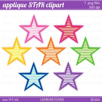 clip art stars with applique look