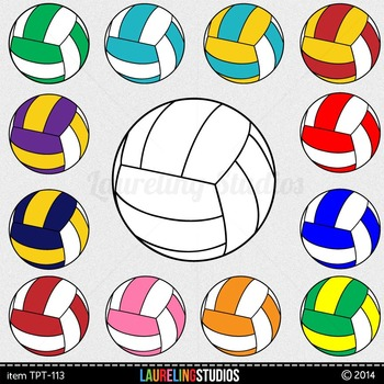 clip art volleyball in popular school colors