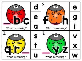 clip cards: alphabet sequence_lowercase_ladybug theme