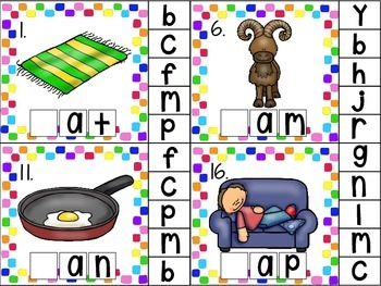 clip cards_cvc word work: inital consonant, medial vowel and final consonant