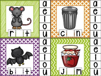 clip cards_cvc word work: initial consonant, medial vowel and final consonant