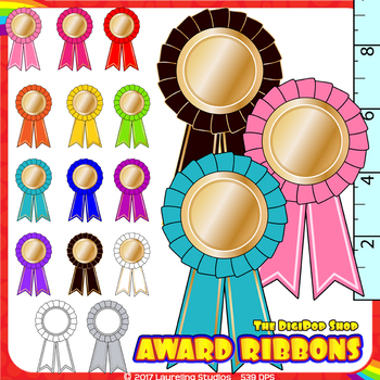clipart award ribbon - add your own text// .png, gold with color and grayscale