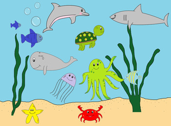 clipart- sea animals-