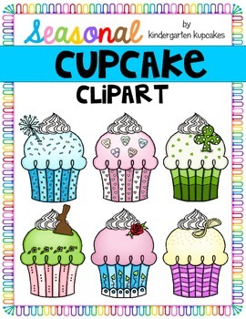 clipart: seasonal cupcake graphics_color and b/w
