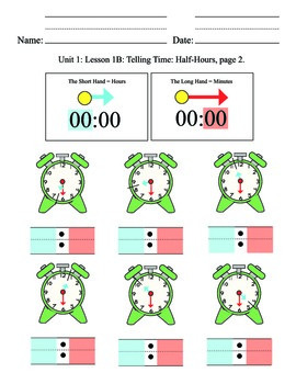 Telling Time Unit 2, half hours, elementary, SPED, special education, clock