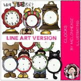 Clocks clip art - LINE ART- by Melonheadz