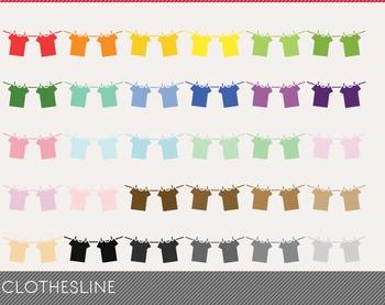 clothesline Digital Clipart, clothesline Graphics, clothes