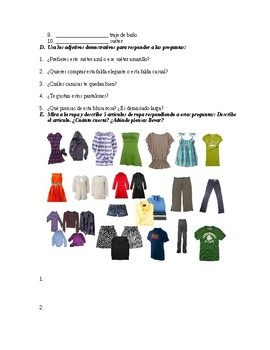 clothing, demonstrative adj and stem changing quiz Realidades 1 Ch. 7A