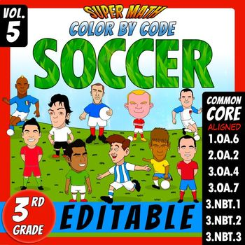 Soccer - Color by Code - 3rd grade - Super Math - Volume 5