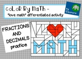 "color by math - ""love math"" - fractions and decimals diffe"