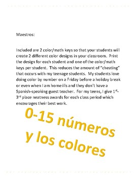 color by number Spanish with 0-15 numbers/math equations