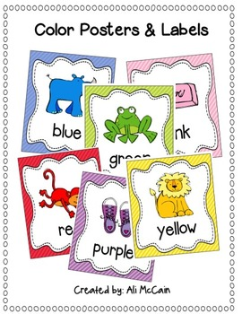 color labels and posters for classroom