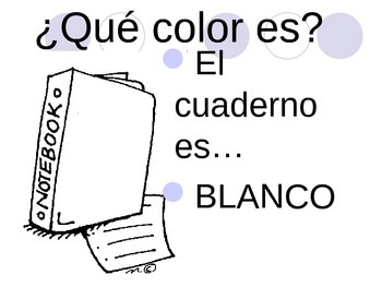 colores practice with school items