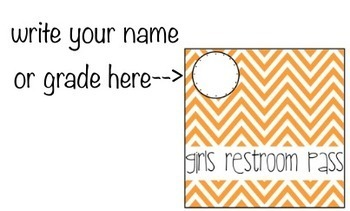 Passes for the Classroom, Colorful Chevron Multi-Use, Restroom Passes, Hall Pass