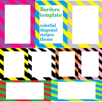 colorful diagonal stripe borders