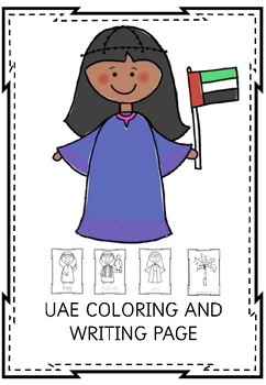 UAE coloring and writing page