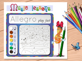 coloring game music lessons Allegro