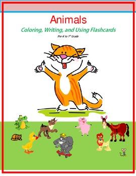 coloring, writing, flashcards, animals, pre-school, kindergarten, 1st grade