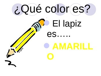 colors review with school objects in Spanish