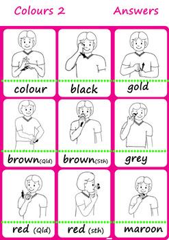 colours worksheets Auslan