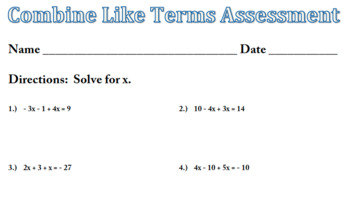 combine like terms assessment