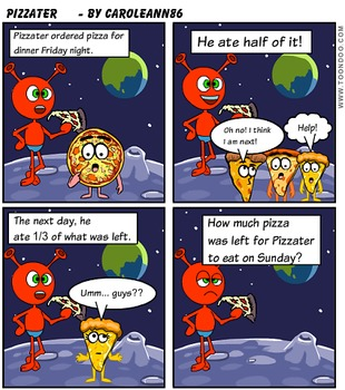 comic Book-Graphic Math Word Problem (Pizzater) multiplyin