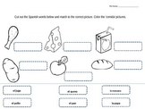 comida food vocabulary spanish cut and paste activity