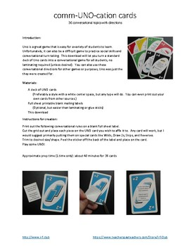 comm-UNO-cation cards