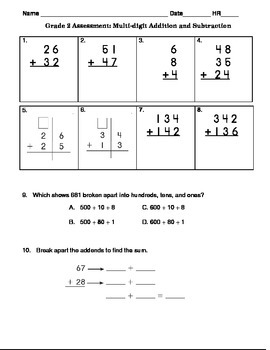 common core grade 2 addition and subtraction assessment