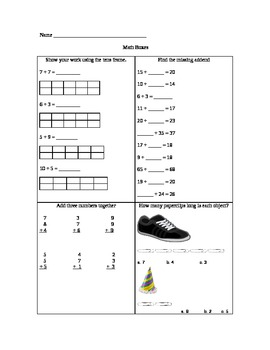 common core math boxes-first grade