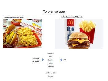 comparisons in Spanish - speaking activity