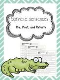complete sentences pretest, posttest, and retest