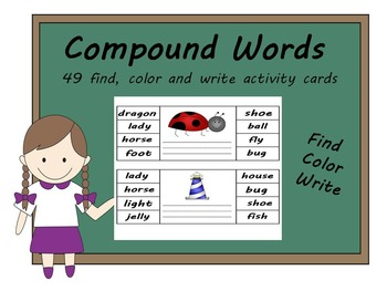 compound words - find, colour and write activity cards.