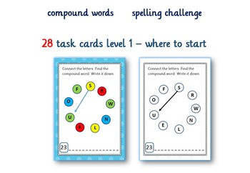Compound Words    spelling challenge  84 task cards