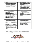 comprehension questions for parents to use at home in English and SPANISH