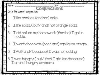 conjunctions ( writer's Workshop mini- lesson for 1st and 2nd grade)