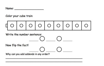 connecting cubes commutative addition