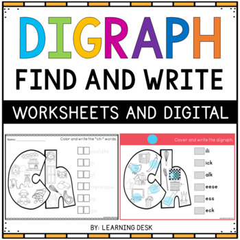 consonant digraphs sh th wh ch qu - Digraph Worksheets Find and Write