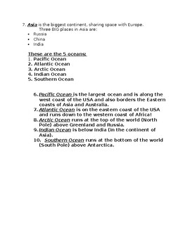 continents and oceans notes