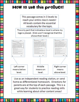 continents fluency and comprehension leveled passages bundle