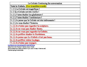 conversation starter French topic the coliseum