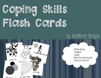 coping skills, calming activities flash cards