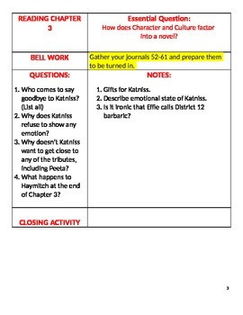 Hunger Games-Language Arts Cornell Notes
