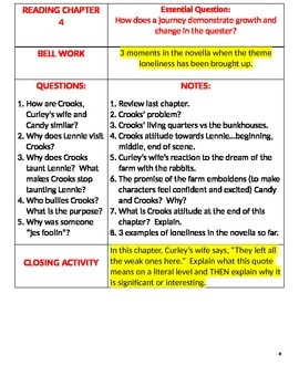 Of Mice and Men- Language Arts Cornell Notes