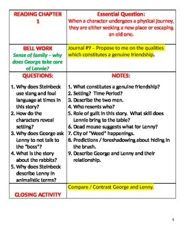 of mice and men language arts cornell notes by ratpack educators