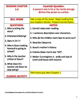 To Kill A Mockingbird- Language Arts Cornell Notes